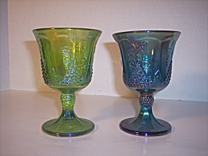 Carnival Footed Goblets In Iridescent Blue And Green