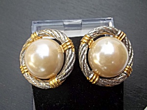 Vintage Faux Pearl Gold and SilverTone Clip Earrings (Image1)