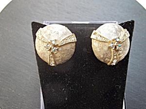 Vintage Silvertone Clip-ons with Rhinestones (Image1)