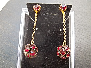 Vintage Ruby Drop Clip-on Earrings.