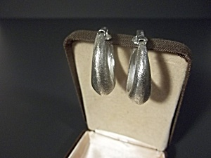 Trifari Silver Tone Hoop Earrings (Image1)