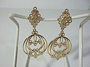 Monet Gold Tone Dangle Earrings (Image1)