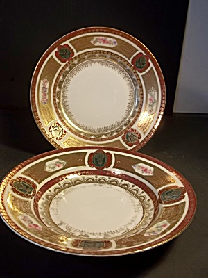 Royal Vienna Burgundy Soup Bowls