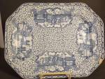 Click here to enlarge image and see more about item PCE115414: Flow Blue Tea Leaf Ironstone Platter