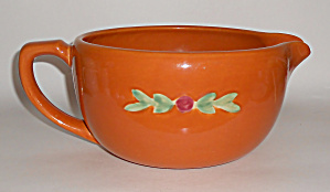 Coors Pottery Rosebud Large Orange Handled Batter Bowl
