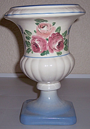 "Camark Pottery Rose Decorated 8"" Footed Vase"