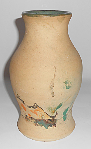 Bauer Pottery Matt Carlton 8.5 Swirl Decorated Vase! (Image1)