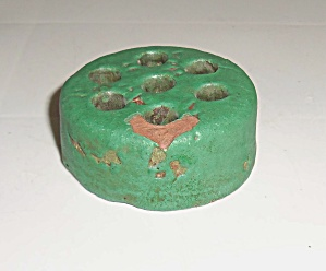 Bauer Pottery Matte Green Red Clay Flower Frog