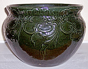 "Bauer Pottery Early Green 11"" Filagree Jardiniere! (Image1)"