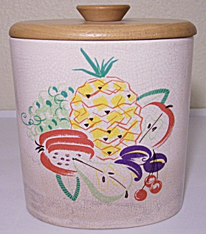 Barbara Willis Pottery Decorated Canister W/lid