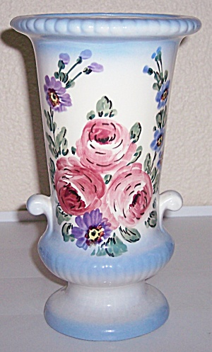 "Camark Pottery Floral Decorated 9"" Vase"