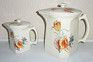 COORS POTTERY THERMO PORCELAIN TULIP LG COVERED PITCHER (Image1)