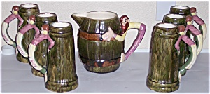 TWIN WINTON POTTERY 7-PC HILLBILLY PITCHER/TANKARD SET! (Image1)