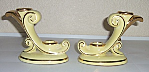 ABINGDON POTTERY YELLOW/GOLD CANDLESTICKS! (Image1)