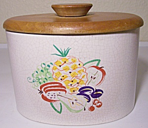 Barbara Willis Pottery Fruit Decorated Canister W/lid