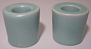 PACIFIC POTTERY EARLY GREEN CANDLESTICKS! (Image1)