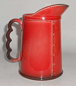 METLOX POTTERY POPPY TRAIL RED ROOSTER MILK PITCHER! (Image1)