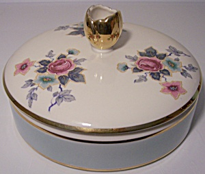 FRANCISCAN POTTERY KAOLENA CHINA FLORAL COVERED BOX! (Image1)