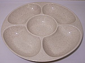 Red Wing Pottery Tan Speckle 5-section Nut Dish