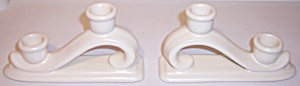 PACIFIC POTTERY SATIN WHITE CANDLESTICK HOLDERS! (Image1)