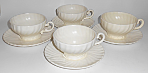 Franciscan Pottery Coronado Satin Ivory Set/4 Cups/sau