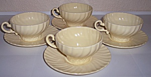 Franciscan Pottery Coronado 4 Yellow Cup/saucer Sets