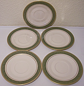 Franciscan Pottery Fine China Set/5 Antique Green Sau
