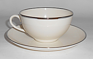 Franciscan Pottery Fine China Platinum Cup & Saucer Set