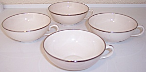 Franciscan Pottery Fine China Platinum Band 4 Cup Set