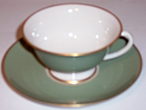 FRANCISCAN POTTERY FINE CHINA PALOMAR GREEN CUP/SAUCER! (Image1)