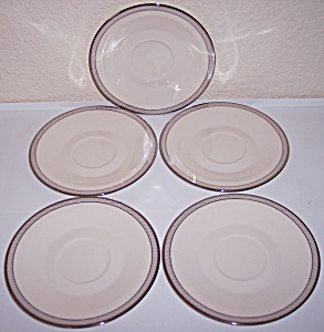 FRANCISCAN POTTERY FINE CHINA ARIEL SET/5 SAUCERS! (Image1)