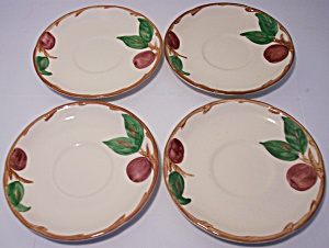 FRANCISCAN POTTERY APPLE U.S.A. SET/4 SAUCERS! (Image1)