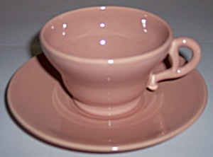 FRANCISCAN POTTERY EL PATIO GLOSS CORAL CUP/SAUCER SET! (Image1)
