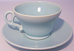 FRANCISCAN POTTERY EL PATIO SATIN AQUA CUP/SAUCER SET! (Image1)