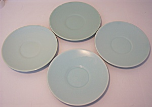 FRANCISCAN POTTERY EL PATIO SATIN AQUA SET/4 SAUCERS! (Image1)