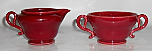 Franciscan Pottery El Patio Maroon Creamer/Sugar Set! (Image1)