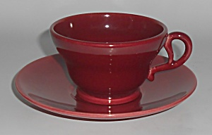 FRANCISCAN POTTERY EL PATIO MAROON CUP/SAUCER SET! (Image1)