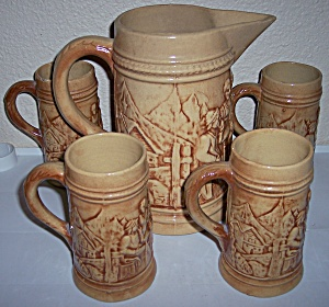 HULL POTTERY EARLY UTILITY ALPS 5-PC BEER SET! (Image1)