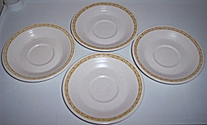 FRANCISCAN POTTERY HACIENDA GOLD SET/4 SAUCERS! (Image1)