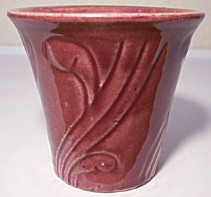 PACIFIC POTTERY EARLY ART DECO MAROON 3-3/8 FLOWER POT (Image1)