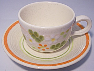 Franciscan Pottery Papaya Cup/saucer Set