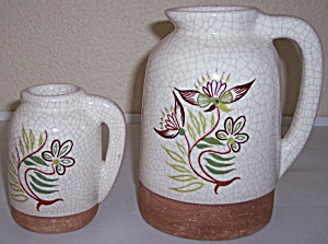 BARBARA WILLIS POTTERY DECORATED LARGE HANDLED JUG! (Image1)