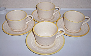 Franciscan Pottery Golden Weave 4 Cup/saucer Sets