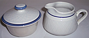 FRANCISCAN POTTERY DUTCH WEAVE CREAMER/SUGAR SET! (Image1)