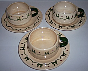 Metlox Pottery Homestead Provincial 3 Cup/Saucer Sets (Image1)