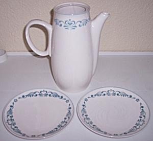 FRANCISCAN POTTERY WHITESTONE COFFEEPOT/PLTS BLUE FANCY (Image1)