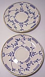 FRANCISCAN POTTERY FINE CHINA ELSINORE PAIR SAUCERS! (Image1)