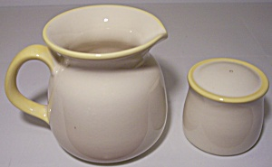 FRANCISCAN POTTERY YELLOW TRIM CREAMER/SHAKER! (Image1)