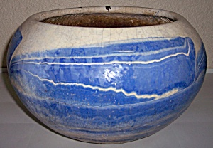 OZARK ROADSIDE TOURIST POTTERY LARGE BLUE/WHITE PLANTER (Image1)