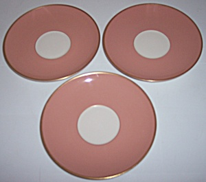 Franciscan Pottery Fine China Palomar Pink 3 Saucers